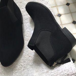 Dr Scholls black suede zip back tassel bootie
